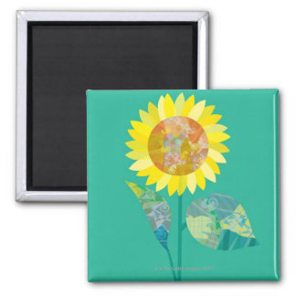 Blooming Sunflowers Square Magnet
