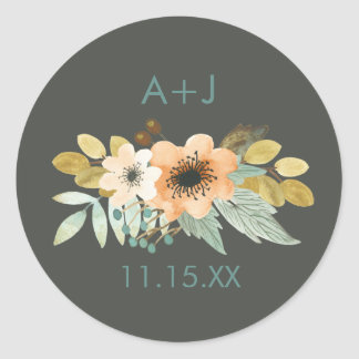Blooming Watercolor Wedding Sticker