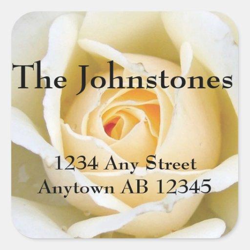 Blooming White Rose Wedding Return Address Sticker