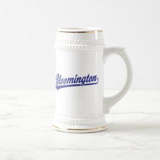 Bloomington script logo in blue beer steins