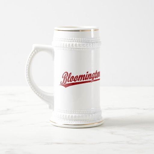 Bloomington script logo in red coffee mug