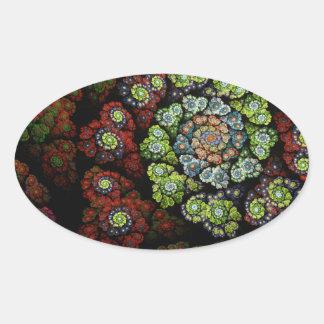 Blossom Abstract Fractal Art Oval Sticker
