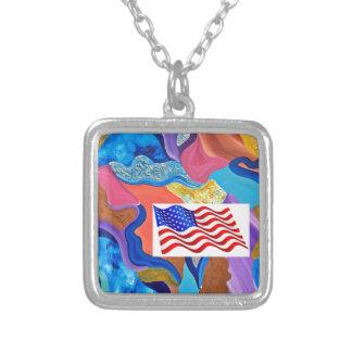 Blossom American Flag Square Pendant Necklace