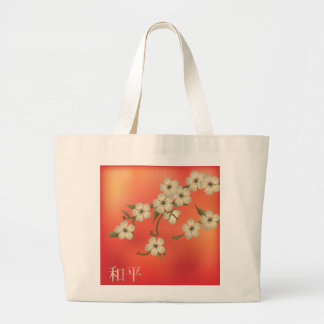 "Blossom beige coral delight ""Peace"" jumbo tote Bag"