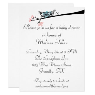 Blossom Branch and Nest Baby Shower Invitation