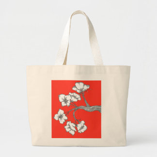 blossom branches bag/red large tote bag