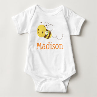 Blossom Bumblebee Custom Personalized Baby's Name Baby Bodysuit