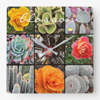 """Blossom"" cacti & roses photo grid wall clock"