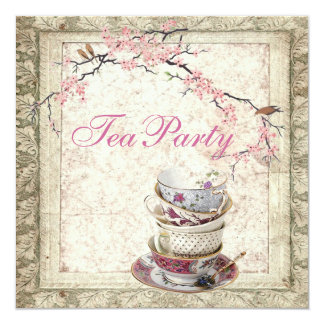 Blossom Country Bridal Shower Tea Party Invitation
