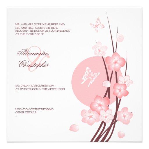 Blossom Flowers Butterflies Wedding Announcement