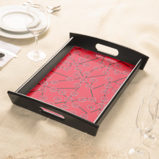 BLOSSOM PATTERN red Service Trays