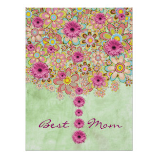 Blossom Pink Flowers Tree - Best Mom Poster
