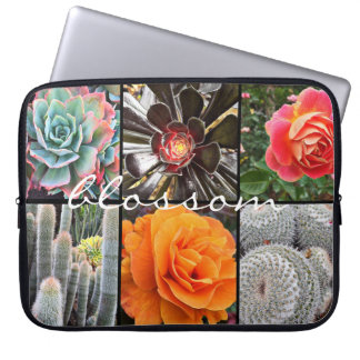"""Blossom"" Quote Chic Cacti & Roses Close-up Photo Laptop Sleeve"