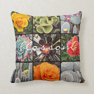 """Blossom"" Quote Cute Cacti & Roses Close-up Photo Cushion"