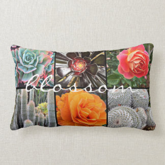 """Blossom"" Quote Cute Cacti & Roses Close-up Photo Lumbar Cushion"