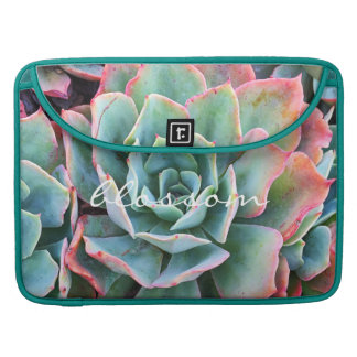 """""""Blossom"""" Quote Pink & Green Cacti Close-up Photo Sleeve For MacBooks"""