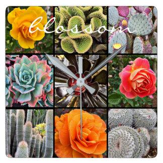 """Blossom"" Quote Vivid Cacti & Roses Close-up Photo Square Wall Clock"