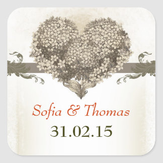 blossom vintage love heart save the date stickers