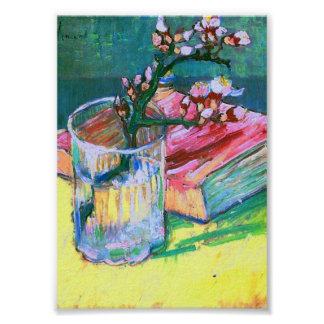 Blossoming Almond Branch Glass Book Van Gogh Fine Poster