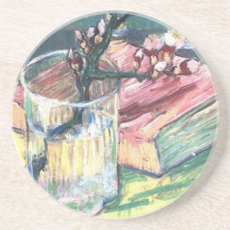 Blossoming Almond Branch in a glass and a book Coaster