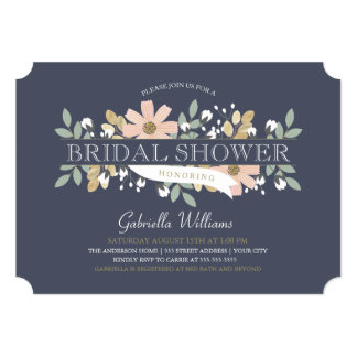 Blossoming Bridal Shower in Navy 13 Cm X 18 Cm Invitation Card