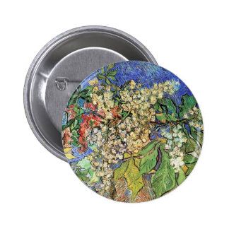 Blossoming Chestnuts Branches Van Gogh Button