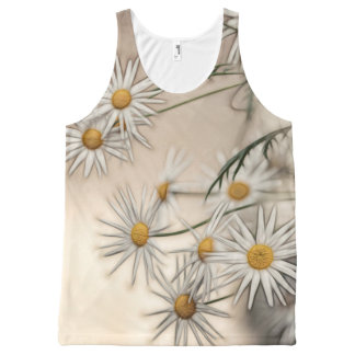 Blossoming Daisies Sketch All-Over Print Singlet