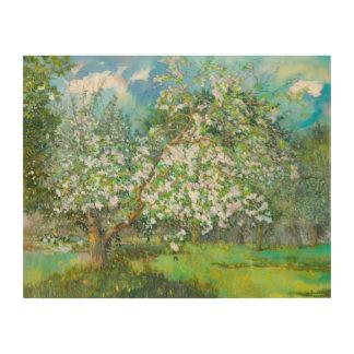Blossoming garden wood wall art