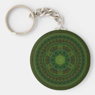 Blossoming Green Kaleidoscope Basic Round Button Key Ring
