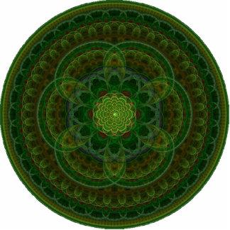 Blossoming Green Kaleidoscope Photo Sculpture Badge