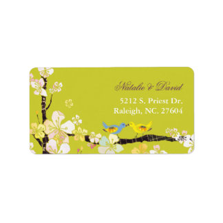 Blossoming Love Chartreuse Green Wedding Address Label