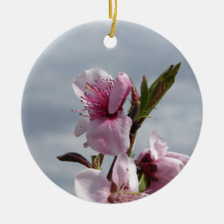 Blossoming peach tree against the cloudy sky ceramic ornament