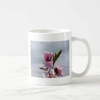 Blossoming peach tree against the cloudy sky coffee mug