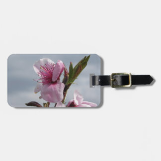 Blossoming peach tree against the cloudy sky luggage tag