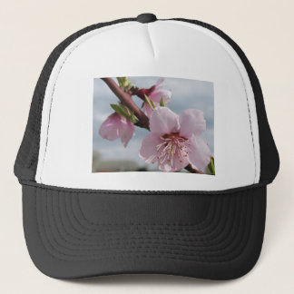 Blossoming peach tree against the cloudy sky trucker hat