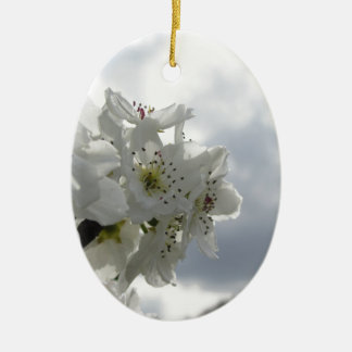 Blossoming pear tree against the cloudy sky ceramic oval decoration