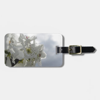 Blossoming pear tree against the cloudy sky luggage tag