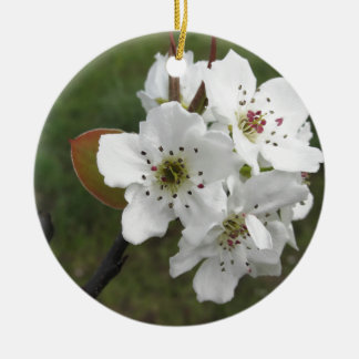 Blossoming pear tree against the green garden round ceramic decoration