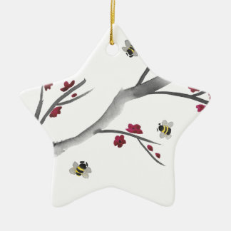 Blossoms and Bees Ceramic Ornament