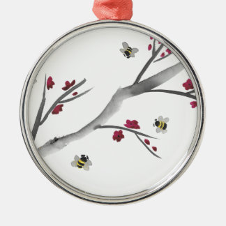 Blossoms and Bees Metal Ornament