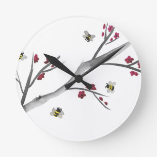 Blossoms and Bees Round Clock