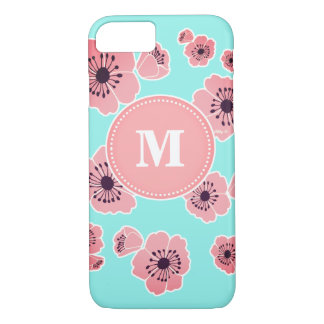 Blossoms Mint & Pink Custom Monogram iPhone 7 Case