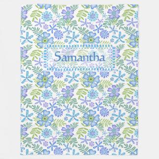 Blossoms of Blue Fleece Blanket