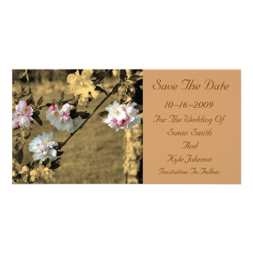 Blossoms Sepia Floral Wedding Save The Date Photo Card