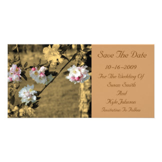 Blossoms Sepia Floral Wedding Save The Date Picture Card