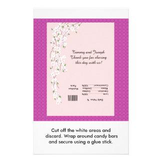 Blossoms Wedding Candy Bar Wrapper 14 Cm X 21.5 Cm Flyer