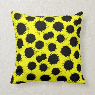 Blot Pattern - Black on Yellow Throw Cushions
