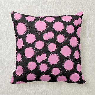 Blot Pattern - Pink on Black Cushions