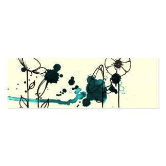 Blotchy flowers blue business card template