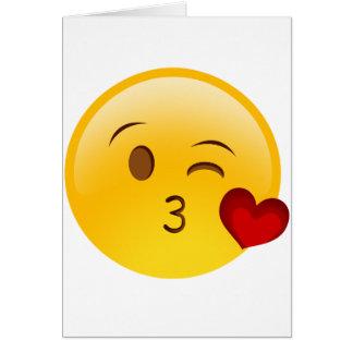 Blow a kiss emoji sticker card
